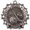 Hockey Ten Star Medal - Gold, Silver or Bronze | Ice Hockey 10 Star Medallion | 2.25 Inch Wide Hockey Ten Star Medal - Silver