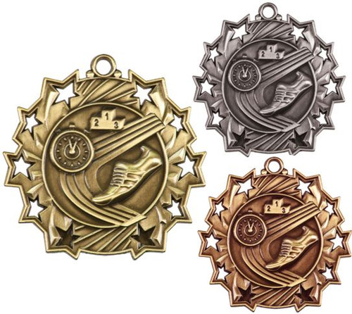 Track Ten Star Medal - Gold, Silver or Bronze | Running 10 Star Medallion | 2.25 Inch Wide