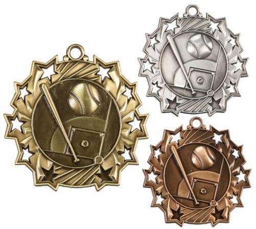 Baseball Ten Star Medal - Gold, Silver or Bronze | Baseball League 10 Star Medallion | 2.25 Inch Wide