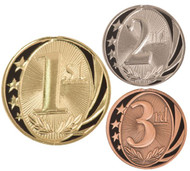 1st, 2nd, 3rd Place MidNite Star Medals - Gold, Silver or Bronze | Engraved Place Medallion | 2 Inch Wide
