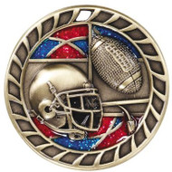 Football Glitter Medal - Gold, Silver & Bronze | Engraved Gridiron Sparkly Medallion | 2.5 Inch Wide Football Glitter Medal - Gold