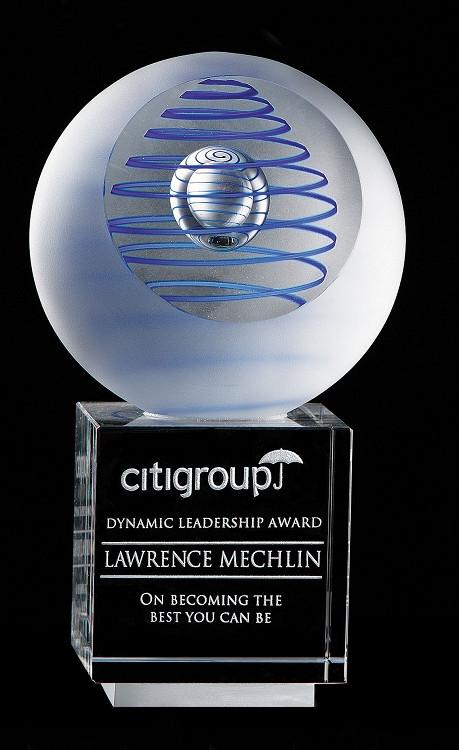 "Art Glass Trophy - Gallileo | Artistic Corporate Award - 6.25"" & 7"""
