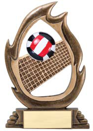 Volleyball Flame Series Trophy | Volleyball Award - 7.25""