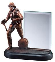 Fireman Heroic Story Glass Award | Engraved Firefighter Hero Award - 8 Inch Tall