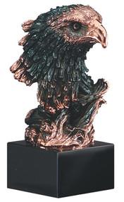 Eagle Head Resin Award | Engraved Bronzed Eagle Head Trophy - 8.5 Inch Tall