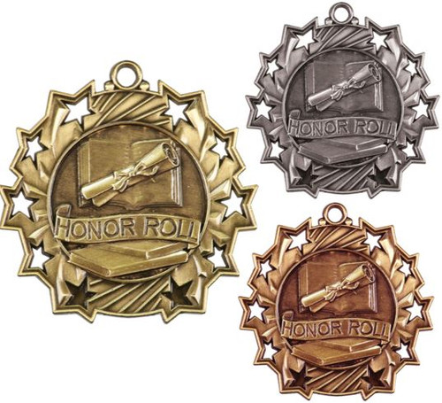 Honor Roll Ten Star Medal - Gold, Silver or Bronze | Scholastic 10 Star Medallion | 2.25 Inch Wide