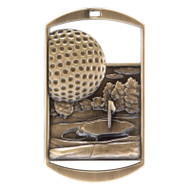 """Golf Dog Tag Medal - Gold, Silver or Bronze   Engraved Golfer Medal   1.5"""" x 2.75"""""""