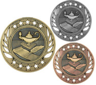 Lamp of Knowledge Galaxy Medal - Gold, Silver & Bronze   Academic Award   2.25 Inch Wide
