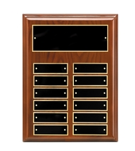 Perpetual Plaque - High Gloss Walnut Piano-Finish with Black Brass Engraving Plates