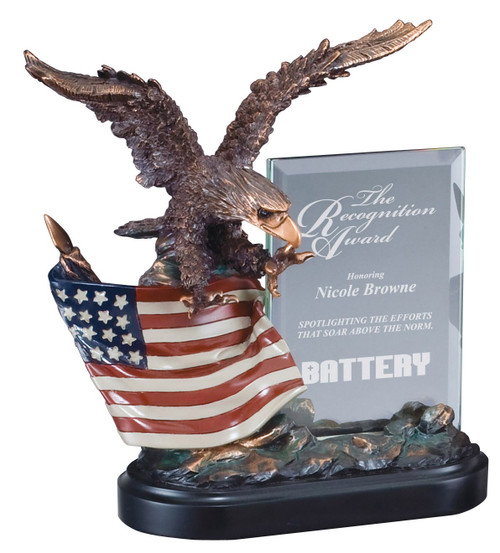Eagle & Flag Story Glass Award | Engraved American Flag & Eagle Hero Award - 10 Inch Tall