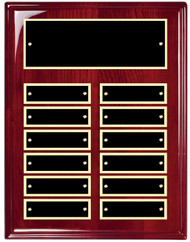 Perpetual Plaque - Rosewood Piano-Finish with 12 Black Brass Engraving Plates 12 Plates