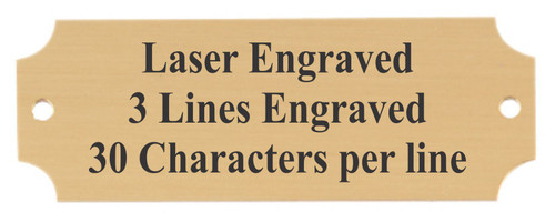 """Perpetual Metal Plate / Engraved Plate - GOLD with black lettering Standard - 1"""" x 2.5"""""""