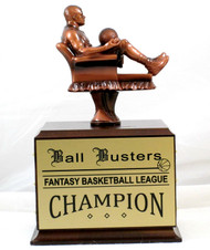 Fantasy Basketball Armchair Perpetual Trophy | Engraved Basketball Perpetual Award - 10.5 Inch Tall