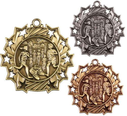 Cross Country Ten Star Medal - Gold, Silver or Bronze | Running 10 Star Medallion | 2.25 Inch Wide