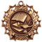 Lamp of Knowledge Ten Star Medal - Gold, Silver or Bronze | Engraved Academic 10 Star Medallion | 2.25 Inch Wide Lamp of Knowledge Ten Star Medal - Bronze