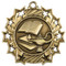 Lamp of Knowledge Ten Star Medal - Gold, Silver or Bronze | Engraved Academic 10 Star Medallion | 2.25 Inch Wide Lamp of Knowledge Ten Star Medal - Gold