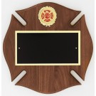Fireman Maltese Cross Walnut Plaque