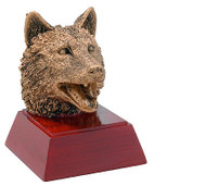 Wolf Mascot Sculptured Trophy | Engraved Wolf Lobo Award - 4 Inch Tall