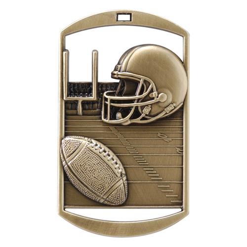 "Football Dog Tag Medal - Gold, Silver & Bronze | Engraved Gridiron Medal | 1.5"" x 2.75"""