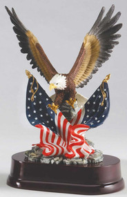 Eagle with Two Flags Trophy | Engraved Eagle Award - 11 Inch Tall