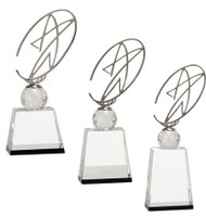 "Star Crystal with Silver Metal Oval Trophy | Crystal Star Award - 10"", 11"" & 12"""