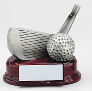 Golf Silver Resin Wedge and Ball Trophy | Engraved Golf Wedge Award - 4.5 Inch Tall