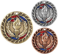 Victory Torch Glitter Medal - Gold, Silver & Bronze | Engraved Flame of Victory Sparkly Medallion | 2.5 Inch Wide