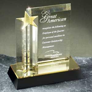 "Star Tower Acrylic Corporate Award - 7"" x 7"""