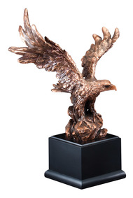 Eagle Bronze Finish Resin Award | Engraved Bronzed Eagle Trophy - 11.5, 16 & 19.5 Inch Tall