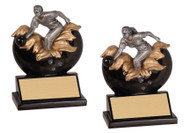 Bowling Xploding Action Trophy - Male / Female | Engraved Bowling Trophy - 5.25 Inch Tall - Clearance
