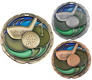 Golf Color Epoxy Medal - Gold, Silver & Bronze