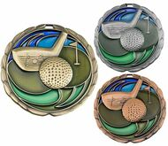 Golf Color Epoxy Medal - Gold, Silver or Bronze | Engraved Golfer Medallion | 2.5 Inch Wide