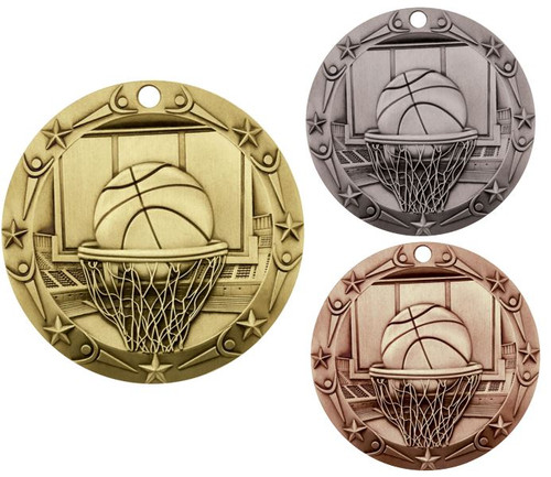 Basketball World Class Medal - Gold, Silver or Bronze   Engraved Hoops Medallion   3 Inch Wide