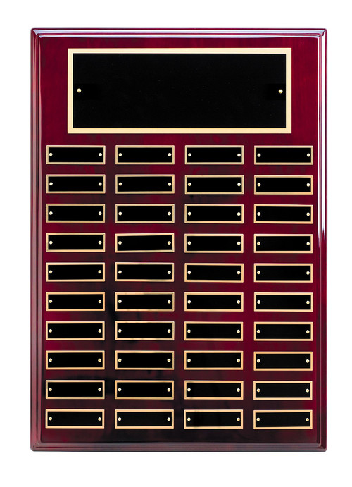 Perpetual Plaque - Rosewood Piano Finish with Black Brass Engraving Plates / 40 Plates