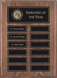 Walnut Finish  Perpetual Plaque - 12 Magnetic Engraving Plates