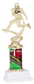 Football Sport Motion Figure w/ Sports Column Trophy   Football Motion Award   10 Inch Tall