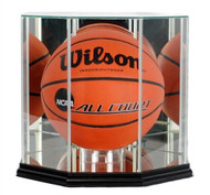 Engraved Octagon Basketball Glass Display Case - Black