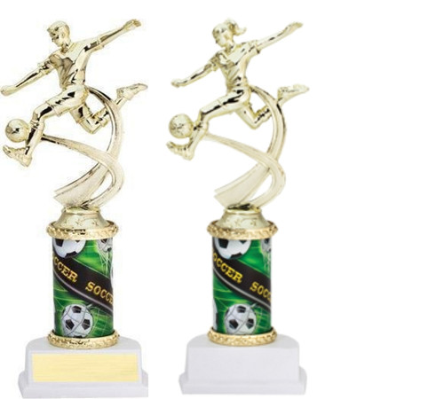 Soccer Sport Motion Figure w/Sports Column Trophy - Male /Female | Fútbol Award