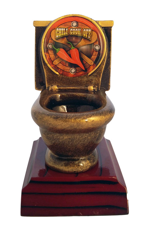 Chili Cook-Off Toilet Bowl Trophy  | Last Place Loser Award | Golden Throne Prize | 5 Inch Tall