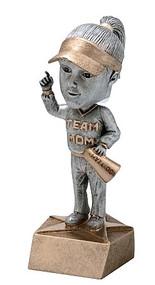 Team Mom Pewter Bobblehead Trophy | Engraved Team Mom Award - 6 Inch Tall