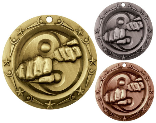 Martial Arts World Class Medal - Gold, Silver or Bronze | Engraved Karate Medallion | 3 Inch Wide