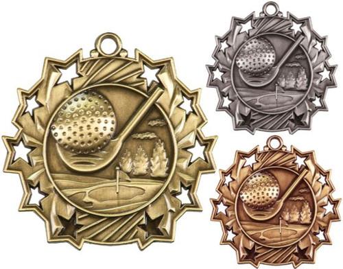 Golf Ten Star Medal - Gold, Silver or Bronze   Golfer 10 Star Medallion   2.25 Inch Wide