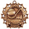 Golf Ten Star Medal - Gold, Silver or Bronze   Golfer 10 Star Medallion   2.25 Inch Wide Golf Ten Star Medal -  Bronze