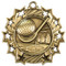 Golf Ten Star Medal - Gold, Silver or Bronze   Golfer 10 Star Medallion   2.25 Inch Wide Golf Ten Star Medal - Gold