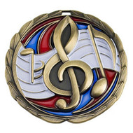 Music Color Epoxy Medal - Gold, Silver or Bronze | Engraved Band Medallion | 2.5 Inch Wide Music Color Epoxy Medal - Gold