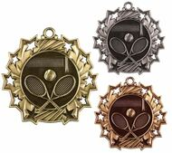 Tennis Ten Star Medal - Gold, Silver or Bronze | Tennis Racket 10 Star Medallion | 2.25 Inch Wide