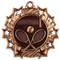 Tennis Ten Star Medal - Gold, Silver or Bronze | Tennis Racket 10 Star Medallion | 2.25 Inch Wide Tennis Ten Star Medal - Bronze