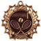 Tennis Ten Star Medal - Gold, Silver or Bronze | Tennis Racket 10 Star Medallion | 2.25 Inch Wide Tennis Ten Star Medal - Bronze