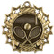 Tennis Ten Star Medal - Gold, Silver or Bronze | Tennis Racket 10 Star Medallion | 2.25 Inch Wide Tennis Ten Star Medal - Gold