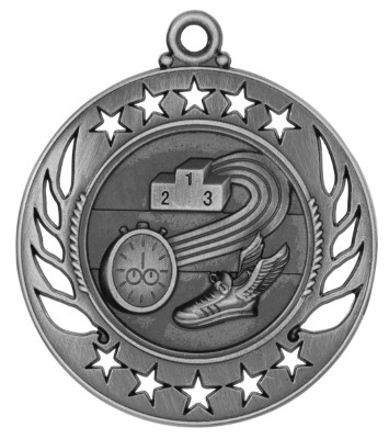 Track Galaxy Medal - Silver | Engraved Runner Medallion | 2.25 Inch Wide - CLEARANCE